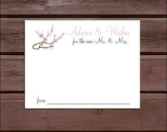 100 Cherry Blossoms Pink Advice and Wishes.  Wedding Favors