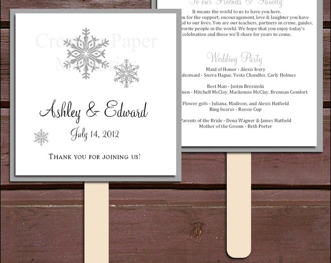 Snowflake Program Fans Kit - Printing Included. Wedding ceremony programs