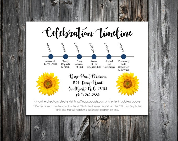 100 Wedding Timeline Itinerary - Sunflower - Printed - Personalized - Order of Events