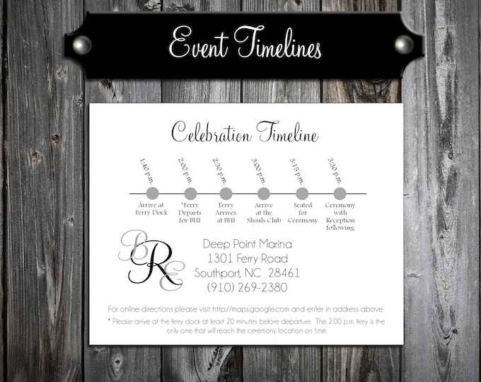 100 Wedding Timeline Itinerary - Monogram - Printed - Personalized Monogrammed - Order of Events