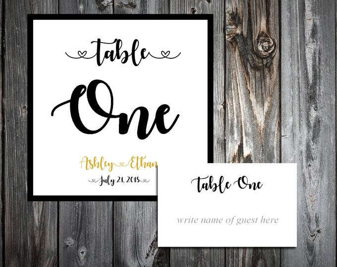 Black and Gold 25 Table Numbers and 250 place settings.  Personalized & printed Reception guests table decorations.