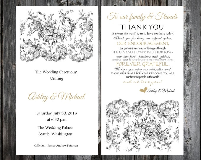 Lace and Burlap Rustic Theme Wedding Programs 100 Wedding Ceremony Personalized and Printed Programs
