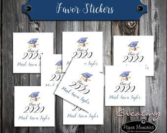 50 Graduation Favor Stickers. 2 inches by 2 inches.  Price includes personalization and printing. Class of 2020