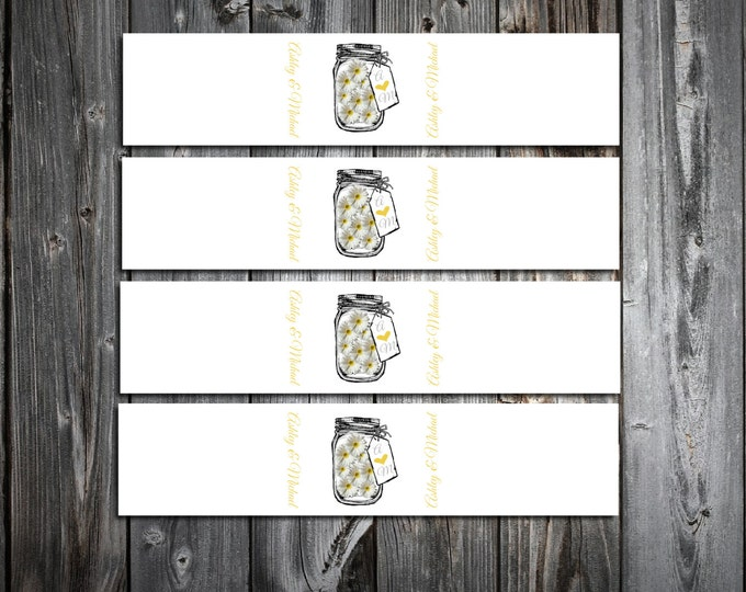 Mason Jar with Daisies 100 Wedding Napkin Ring Cuffs Wraps. Personalized and Printed wedding napkin favors