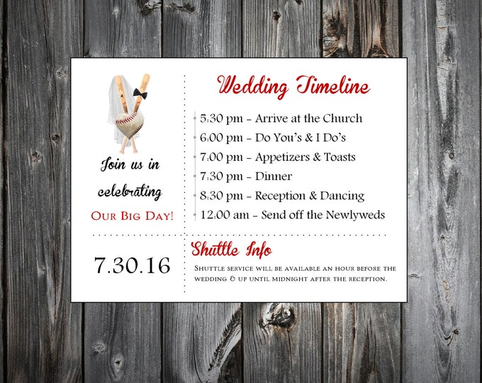 Baseball Heart 100 Personalized and Printed Timelines. Wedding Invitations Inserts.  Ceremony Reception Schedule.