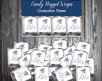100 Graduation Candy Wraps Favors - Nugget Chocolate Wrappers