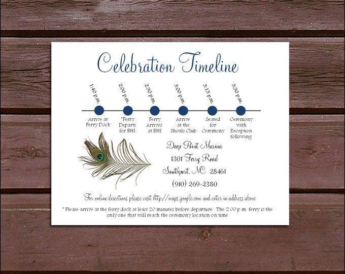 100 Peacock Feathers Timeline to include with your Wedding Invitations. Includes printing