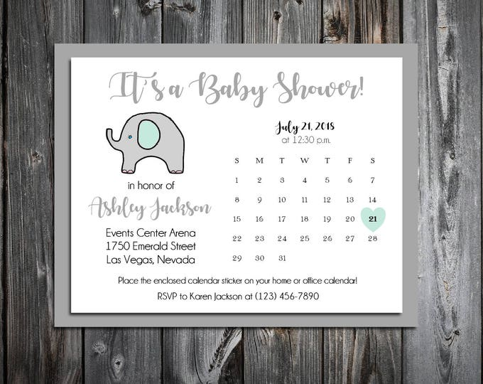 25 Green and Grey Elephant Baby Shower Invitations set - Price includes personalization and printing and Free Calendar stickers