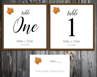 10 Fall Leaf Wedding Table Numbers and 100 place settings for reception tables - Fall In Love