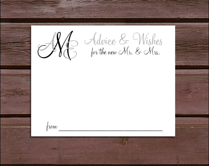 100 Monogram Advice and Wishes. Wedding Favors - monogrammed