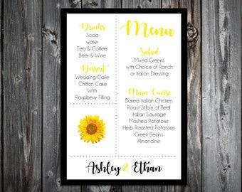 50 Sunflower Wedding Menu Cards - Dinner Menus