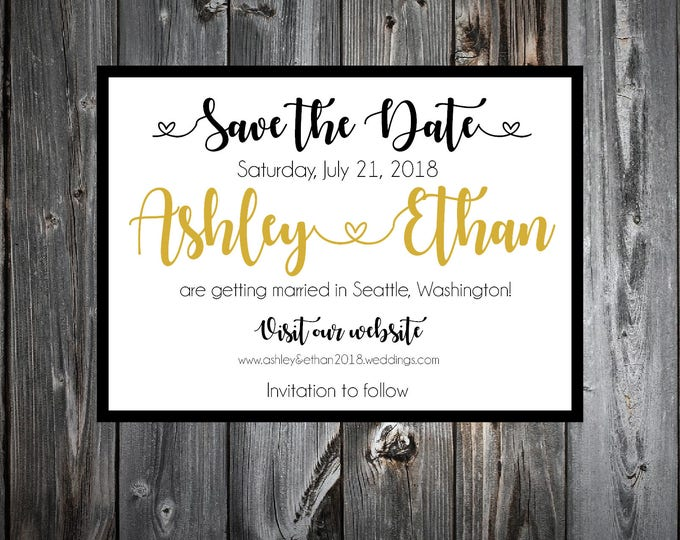 Black and Gold Wedding Save the Dates Cards Invitations
