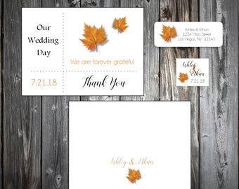100 Fall Leaf Wedding Thank You Notes - Fall In Love