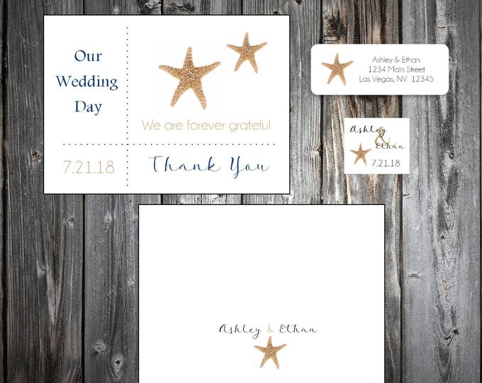 100 Beach Starfish Wedding Thank You Notes