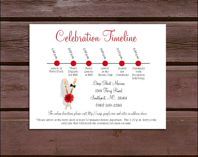 100 Baseball Timeline to include with your Wedding Invitations. Includes printing