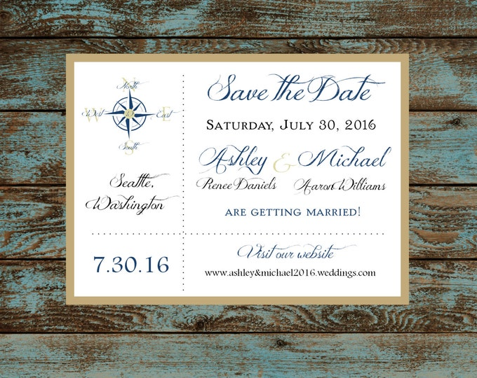 Nautical Compass Anchor  Wedding Save the Date Cards Invitations