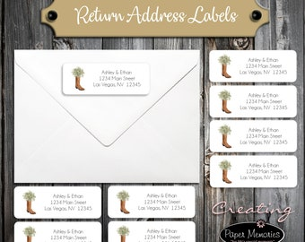 100 Wedding Return Address Labels - Boot with Baby's Breath - Personalized self stick label - Includes Printing