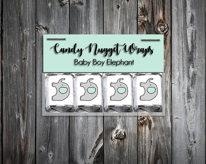 60 Green and Grey Elephant Shower Candy Wraps Favors. Includes printing.