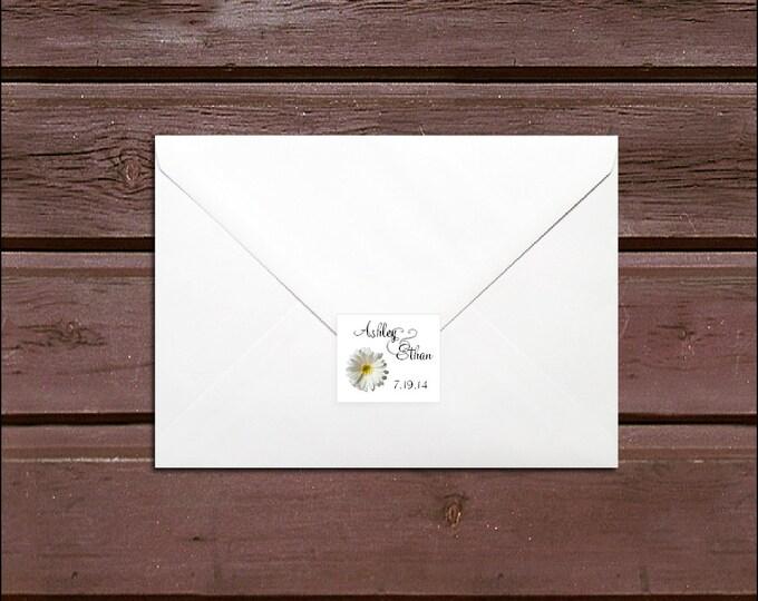 100 White Daisy Wedding Envelope Seals. Personalized Sticker Labels.