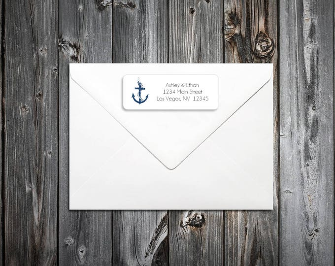 60 Beach Nautical Anchor Wedding Return Address Labels. Personalized self stick label
