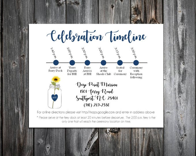 100 Mason Jar with Sunflower Timeline to include with your Wedding Invitations. Includes printing