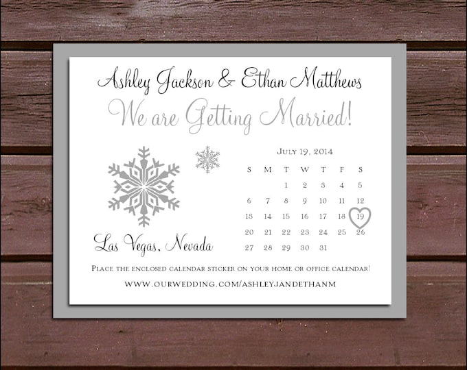 100 Save the Dates Cards Snowflake Wedding Invitations