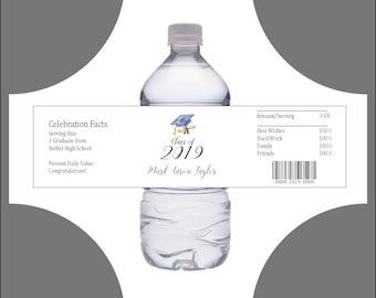 50 Graduation water bottle labels - Price includes personalization and printing