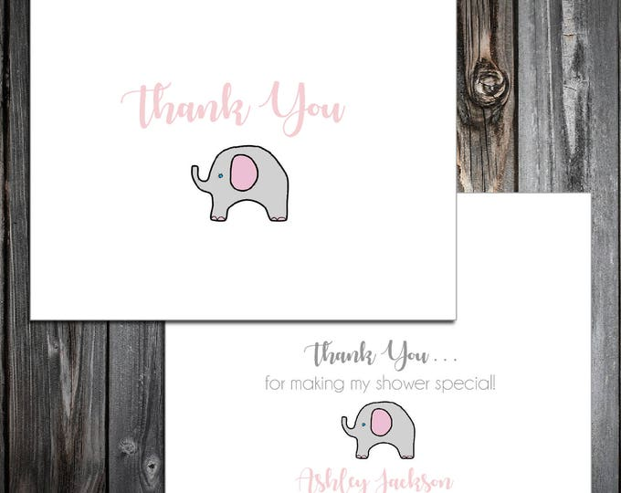 25 Pink and Grey Elephant Baby Shower Thank You Notes. Price includes printing.