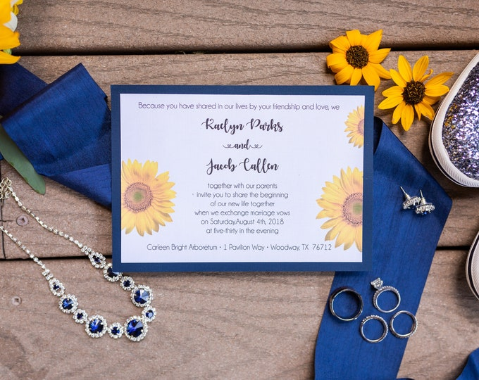 25 Wedding Invitations - Sunflowers - RSVP - Inserts - Printed -Personalized - Return Address Labels - Stickers