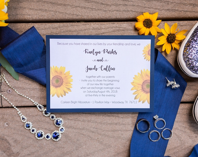 50 Wedding Invitations - Sunflowers - RSVP - Inserts - Printed -Personalized - Return Address Labels - Stickers