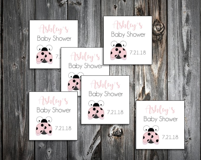 25 Pink Ladybug Baby Shower Favor Stickers. 2 inches by 2 inches.  Price includes personalization and printing.