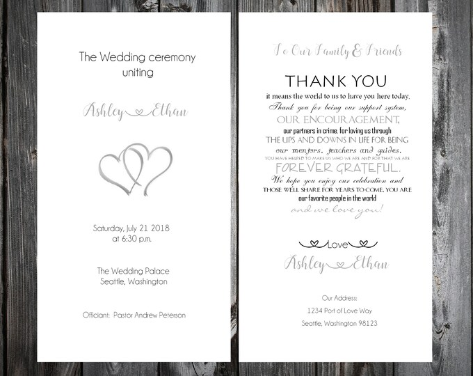 100 Wedding Programs - Double Hearts - Printed - Personalized