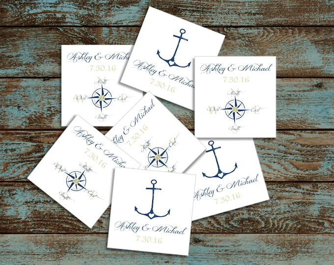 Nautical Compass Anchor 100 Wedding Favor Stickers. Personalized and printed square labels.