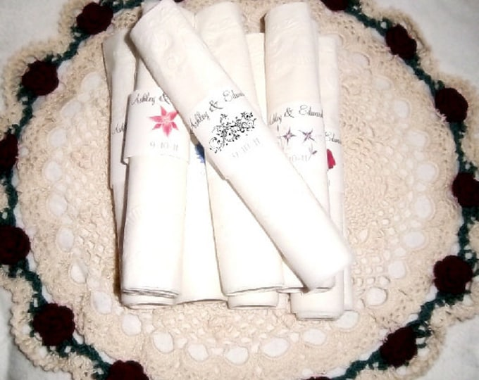 100 Damask Swirl Wedding Napkin Ring Cuffs Wraps. Personalized Favors
