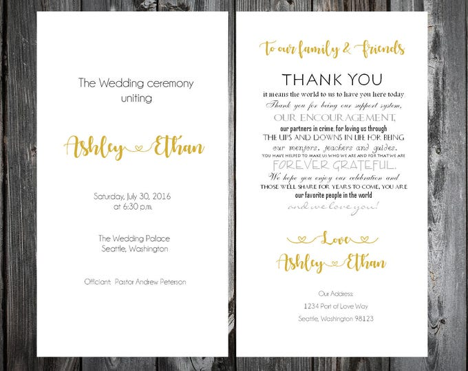 Black and Gold Wedding Programs 100 Wedding Ceremony Personalized and Printed Programs