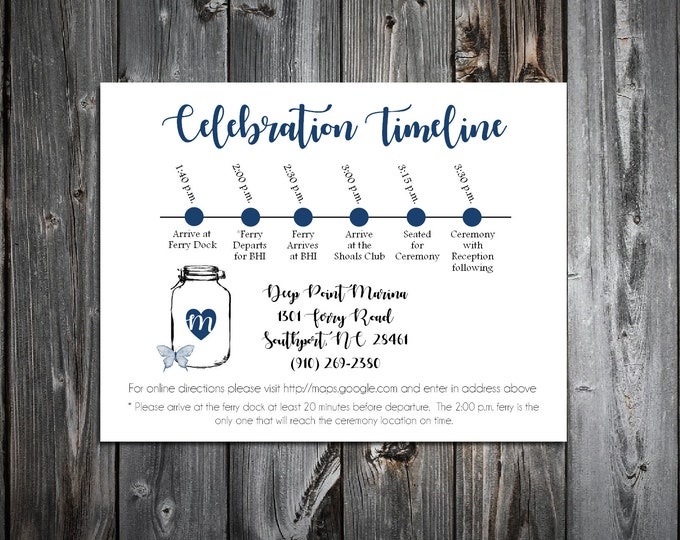 100 Wedding Timeline Itinerary - Mason Jar with Butterfly - Printed - Personalized - Order of Events