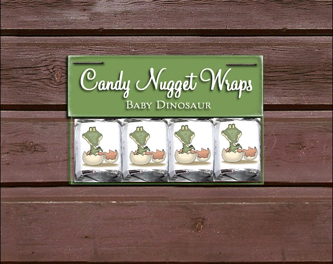 60 DINOSAUR Baby Shower Candy Wraps Favors. Includes printing.