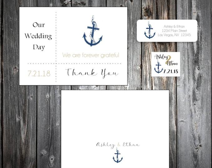 50 Nautical Beach Anchor Wedding Thank You Notes