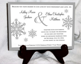 75 Snowflake Wedding Invitations, RSVP's, Reception Insert w/ FREE Calendar   Stickers