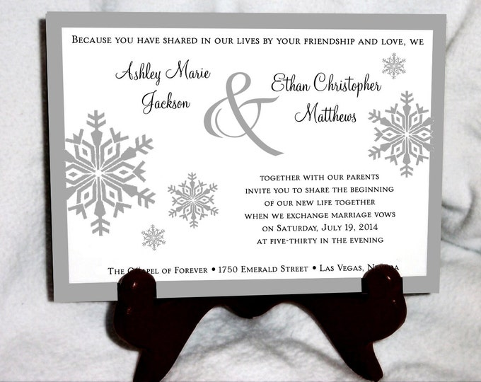 100 Snowflake Wedding Invitations, RSVP's, Reception Insert Invitations with FREE Calendar Stickers