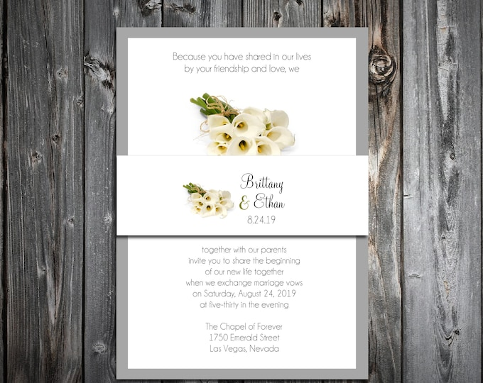 100 Wedding Invitations Belly Bands - Calla Lily - Printed - Personalized Calla Lilies Theme