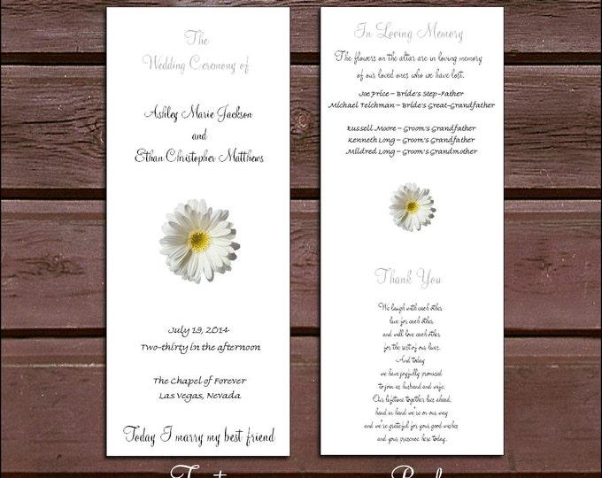 100 White Daisy Wedding Ceremony Program