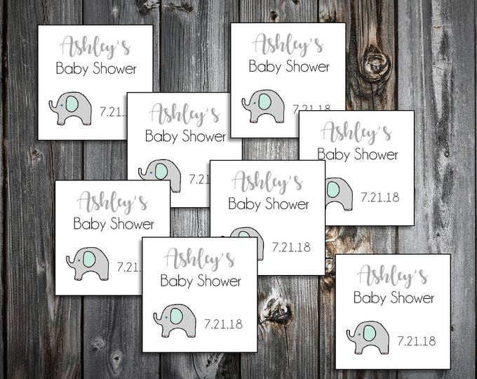 25 Green and Grey Elephant Baby Shower Favor Stickers. 2 inches by 2 inches.  Price includes personalization and printing.