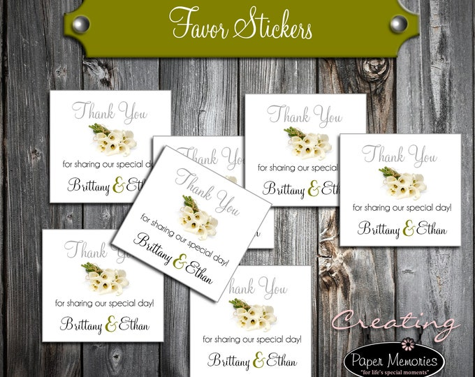 100 Calla Lily Wedding Favor Stickers. Personalized calla lilies printed square labels are 2 inches by 2 inches.
