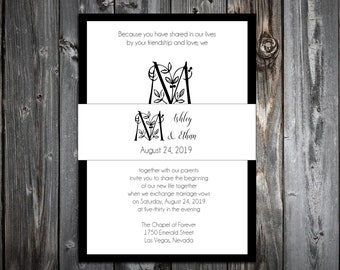 100 Wedding Invitations Belly Bands Wraps - Monogram Floral Letter - Printed - Personalized