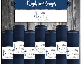100 Wedding Napkin Wraps - Cuffs- Rings - Nautical Beach Anchor - Wedding Favors - Printed - Personalized