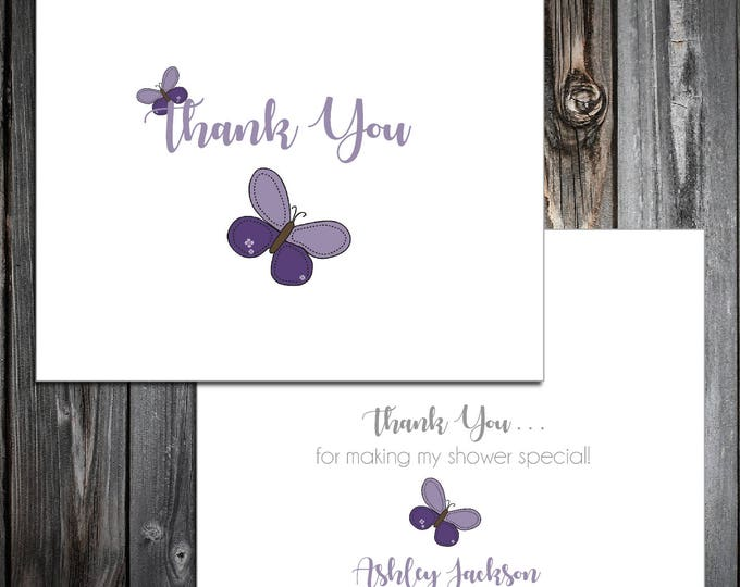 25 Purple Butterfly Baby Shower Thank You Notes. Price includes printing.