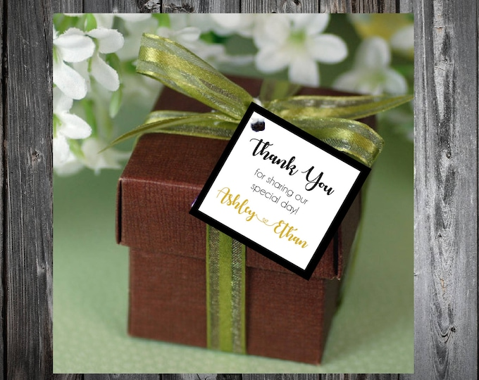 Black and Gold 25 Printed and Personalized Favor Tags. Beach Wedding favors