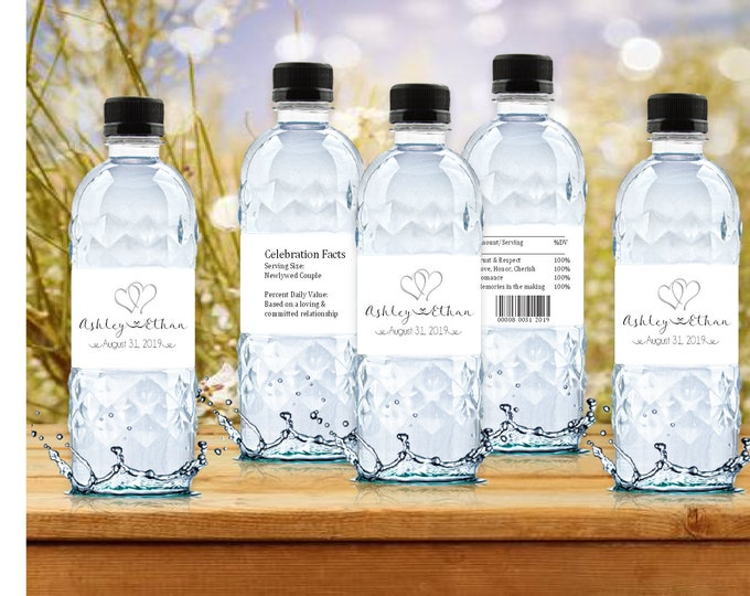 100 Hearts water bottle labels - Wedding favors
