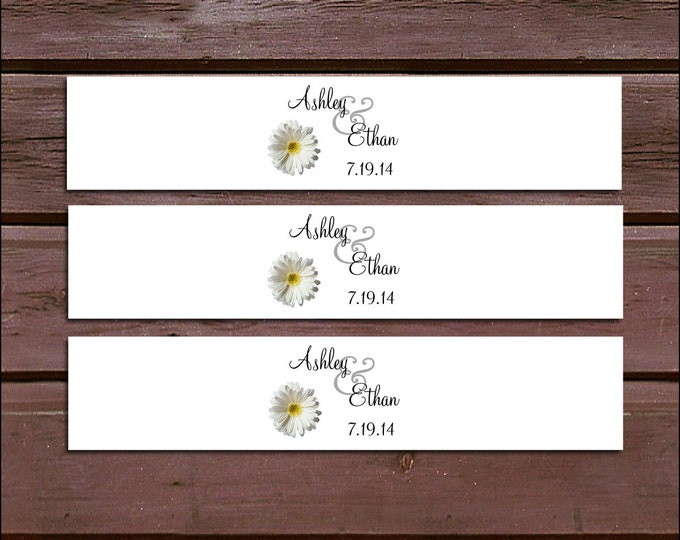 100 White Daisy Wedding Invitation Belly Bands Wraps.  Includes personalization and  printing
